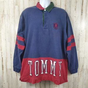 Tommy Hilfiger Mens Polo XL Red Blue Vintage 90's